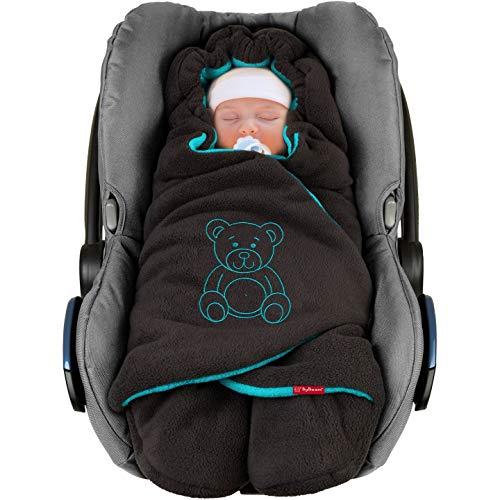 """ByBoom - Baby Winter-Einschlagdecke\""""Das Original mit dem Bären\"""", Universal für Babyschale, Autositz, z.B. für Maxi-Cosi, Römer, für Kinderwagen, Buggy oder Babybett, Farbe:Anthrazit/Aqua"""