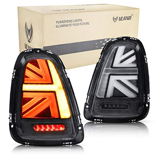 VLAND LED Luci posteriori per 2011-2013 Mini Cooper R56 R57 R58 R59 Fanale posteriore Union Jack ,Lampada di coda con tecnologia LED,Lente trasparente