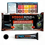 MagicEzy Stone Repairezy - (Black) - Stone Fix - Fills and Colors Chips and Cracks in Granite and Marble Tiles or Countertops Fast - Strong Filler and Sealant