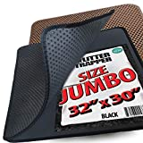 iPrimio Jumbo Size Cat Litter Trapper Litter Mat, EZ Clean Cat Mat, Litter Box Mat Water Proof Layer and Puppy Pad Option. Patented. (32'x30' Black)
