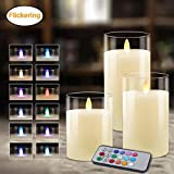 Flameless Candles Glass Votive Candles Battery Operated Lights LED Tea Light Flickering LED Realistic Tealights Real Wax with Timer Multi-Color Flame Holiday Decorations 3 Packs