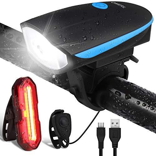 OMERIL Luci Bicicletta LED Ricaricabili USB con Clacson, Luce Bici Anteriore e Posteriore Super...