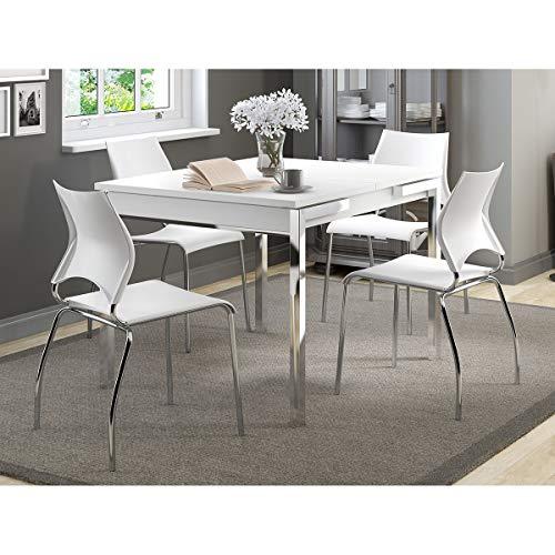 Mesa Extensível 1541 Branca Cromada com 4 Cadeiras 357 Branca Carraro