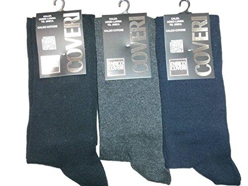 Enrico Coveri N. 3 Calze Lunghe Uomo Caldo Cotone Colori assortiti Blu, Nero, Antracite TAGLIA UNICA