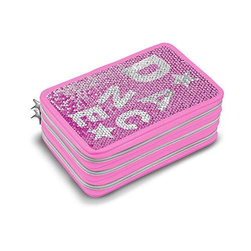 Dimensione Danza Sisters, Astuccio scuola elementare bambina paillettes, astuccio completo di penne e colori, portapenne scuola con 3 zip argento, dimensione 20x13x7 cm (Rosa e argento)