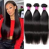 Aphro Hair Brazilian Straight Hair 3 Bundles Human Hair Weave Virgin Remy Hair Bundles 100% Unprocessed Virgin Human Hair weave Natural Color (8 10 12 inches)