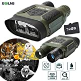 ESSLNB Night Vision Binoculars 400m/1300ft for 100% Darkness 7x31 mm Night Vision Goggles with 32G TF Card and Photos Videos Recorder Function 2' LCD Infrared Binoculars with Night Vision