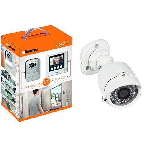 BTicino 316913 Kit Videocitofono con 2 Fili, Display da 4.3' a Colori, Mono/Bifamiliare, Bianco + 391438 Telecamera Videosorveglianza, IP66, LED Infrarossi, Compatibile con Kit Videocitofoni, Bianco