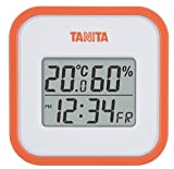 タニタ 温湿度計 温度 湿度 デジタル 壁掛け 時計付き 卓上 マグネット オレンジ TT-558 OR
