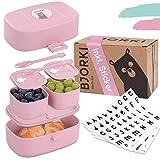 BJORKI Bento Box für Kinder inkl. GRATIS Namensticker - Auslaufsichere Lunchbox mit Fächern - Nachhaltige Brotdose Kinder für Kindergarten & Schule - Die Jausenbox für unterwegs.
