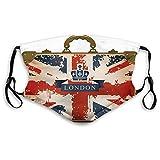 CSXKUL Cómoda funda para la cara, resistente al viento, maleta de viaje vintage con cinta de Londres e imagen de corona, decoraciones faciales impresas para todo el mundo para adultos M