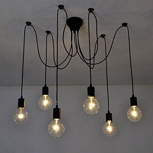 Lixada 6 Arms Each with 1.7 m Wire Antique Classic Adjustable DIY Ceiling Spider Lamp Light E27...