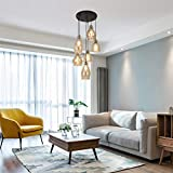 Vintage Kitchen Chandelier, 6-Lights Linear Island Glass Shade Pendant Lighting Adjustable Industrial Hanging Light Fixtures with Round Plate for Dining Room, Bars and Shops