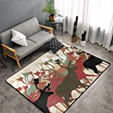 Christmas Area Rug Carpet Antler Decor Indoor/Outdoor Rug,Reindeer Caribou Herd Migrating Colorful Silhouettes Wildlife Nature Theme Machine Washable,Multicolor