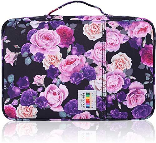 Shulaner Astuccio per 300 matite o 200 penne gel con manico e con chiusura a cerniera Borsa per organizer per penna in nylon di Multifunzione Ampia capacit astuccio floreale - Rosa viola e rosa