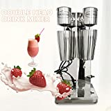 Electric Milkshake Mixer Maker,Double Head Milk Shaker Drink Malt Mixer Stainless Milk Frozen Smoothie Soft Ice Cream Maker Blender Commercial Stand Mixers 180W+180W