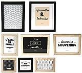 THE HOME DECO FACTORY HD4691 Lot de 8 Cadres Photos, Bois + PVC, Noir/Blanc/Marron, 22,2 x 2 x 27,3 cm