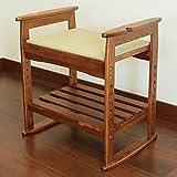 玄関ベンチ 木製 腰掛け 肘掛け 棚板付き玄関椅子 ダークブラウン 【座面の高さ調整6段階】