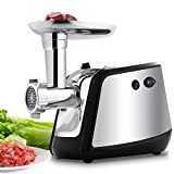 Electric Meat Grinder, Meat Mincer with 3 Grinding Plates and Sausage Stuffing Tubes for Home Use &Commercial, Stainless Steel/Silver/1000W (1000W)