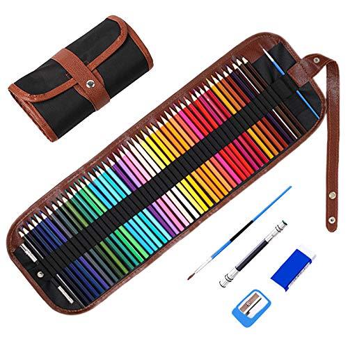 48 Pezzi Matite Colorate Professionali Kit Disegno per Adulti, TOYESS Set di Matita Professionale con Astuccio Arrotolabile Fornire a Artista Professionale e Principianti