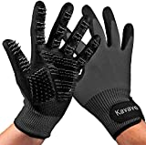 Pet Grooming Gloves Shedding Hair Remover Brush for Dogs Cats & Horses with Long or Short Fur Slicker Mitt Comb for Bath, Deshedding, Petting, Massage One Pair Black Gloves