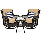 Best Choice Products 3-Piece Outdoor Wicker Patio Bistro Set w/ 2 360-Degree Swivel Rocking Chairs and Tempered Glass Top Side Table - Beige