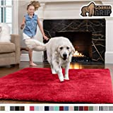 GORILLA GRIP Original Faux-Chinchilla Area Rug, 2x4 Feet, Super Soft and Cozy High Pile Washable Carpet, Modern Rugs for Floor, Luxury Shag Carpets for Home, Nursery, Bed and Living Room, Red