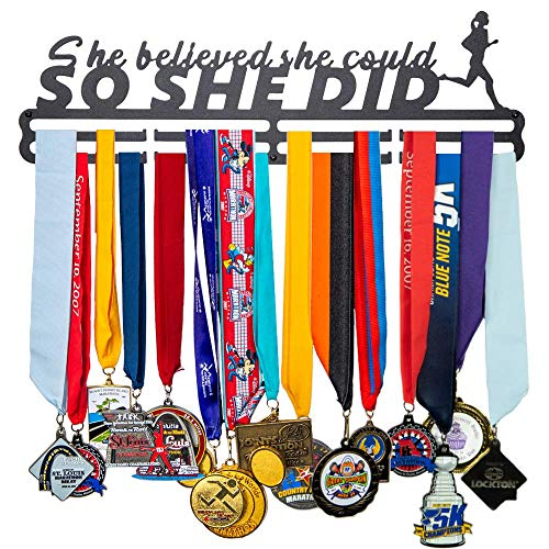 FitGoalz Medal Holder Hanger Display - Wall Mount - Great Gifts for Runners, Gymnastics, and Sports Medals – She Believed She Could