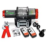 STEGODON 4500 lb. Load Capacity Electric Winch,12V Steel Cable Winch with Wireless Handheld Remote and Wired Handle,Waterproof IP67 Electric Winch with 4-Way Roller Fairlead