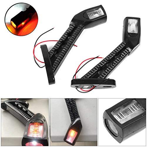 Maso - Freccia laterale a LED, 2 x 12/24 V, per rimorchio, furgoni, roulotte, stelo laterale, spia a gomito