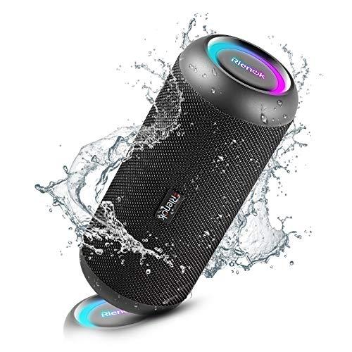 Enceinte Bluetooth Portable, RIENOK Haut Parleur sans Fil 30W IPX7 avec LED Lumière, Stéréo 360 °, AUX, Supporte TF Carte, Adapté aux Fêtes, Extérieur