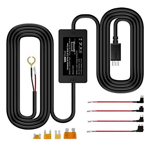 VANTRUE 10ft Mini USB Kit da 12 V a 24 V Dash Cam Hardwire con Mini/ACS/ATO / Micro2 Aggiungi un portafusibili a circuito, protezione a bassa tensione N2 Pro / N2 / X3 / T2 / N1 Pro / X1 Dash Cam