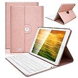 COO Housse Clavier iPad Mini 4 Bluetooth, Clavier AZERTY Français Etui Coque ipad en Cuir PU Auto Veille&Réveil Rotation 360 Degrés pour ipad Mini 4(Bleu Foncé)