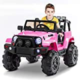 AuAg Electric Ride On Car/Truck Ride on Toys with Parental Remote Control 12V Two Speeds LED Lights MP3 Player Prerecorded Kid Song Easy to Assemble Indoor and Outdoor Gift for Kids (Pink)