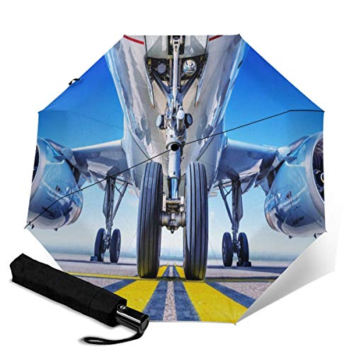 Lucaeat Landing Gear Background Travel Umbrella for Sun & Rain Automatic Folding Outdoor Windproof Lightweight