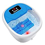 Turejo Foot Spa Massager with Heat Bath, Motorized Massage Rollers, Pumice Stone, Bubbles, Infrared Light, Pedicure kits, Digital Adjustable Temperature Control and Timer to Help Relieve Foot Stress
