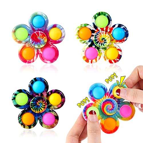 Effacera Fidget Spinner Pop Its Toys 4 Pack, Tie-Dye Push...