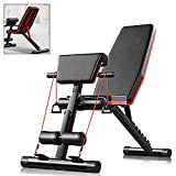Modern-Depo Adjustable Weight Bench for Full Body Workout, Exercise Muscle Strength, Foldable Incline Bench, Sweat Resistant PU Leather, Thick Comfortable Foam