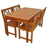 Gartenmöbel Set Lotus Garten Garnitur Sitzgruppe aus Holz 4-teilig Tisch Gartenbank 2 x Stuhl - 2
