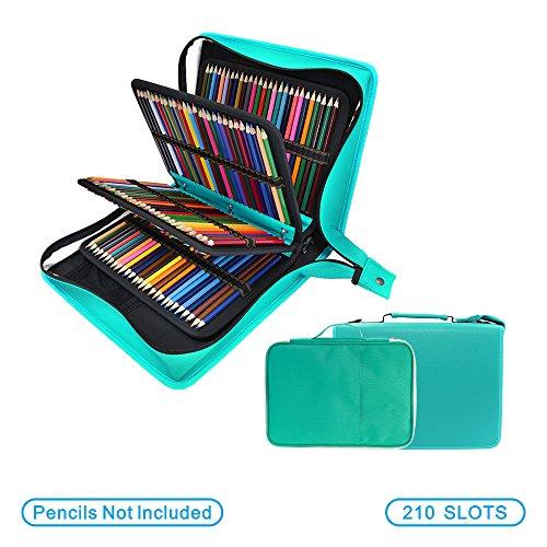 200 + 16 slot PU matita colorata  grande capacit di trasporto custodia per acquerello Prismacolor, Crayola matite colorate, Marco, penne gel, rossetti e spazzole da YOUSHARES(verde)