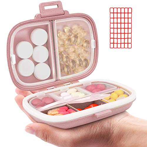 Daily Pill Organizer, 8 Compartments Portable Pill Case, Pill Box to Hold Vitamins, Cod Liver Oil, Supplements and Medication (2-Pink)