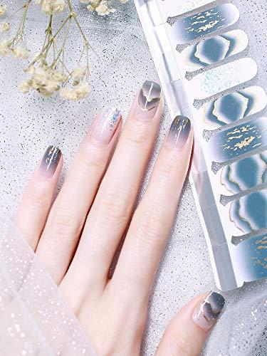 Beetle Studio 2021 Latest 22PCS Adhesion Nail Art Transfer Decals Sticker French Gradient Glitter Series DIY Nail Polish Strips ,Nail Wraps, 100% Real Nail Polish Applique for Manicure,Nail Decals ,Nail Decor,Y246-Haze Hills…