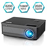 Projector, WiMiUS P18 Upgraded 6200 Lumens LED Movie Projector 1080P Full HD Support 200' Display Compatible with Amazon Fire TV Stick Laptop iPhone Android Phone Xbox PS4 Via HDMI USB VGA AV Black