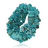 Bling Jewelry Blue Stabilized Turquoise Chip Stone Wide Chunky Cluster Multi Strand Stretch Bracelet for Women