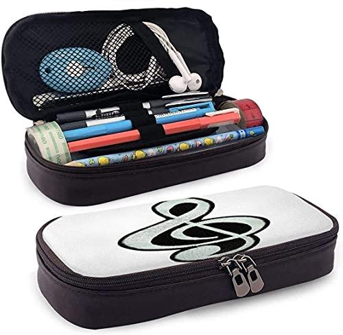 AOOEDM Astuccio in pelle bianca con chiave di violino con portapenne, portapenne, astuccio per cosmetici, auricolare Bluetooth, materiale scolastico, custodia con cerniera per penne chiavi a matita