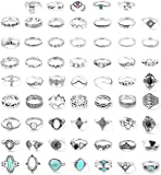 FUNRUN JEWELRY 61PCS Knuckle Ring Set for Women Creat Opal &Turquoise Joint Stackable Midi Finger Ring Bohemian Retro Vintage Jewelry