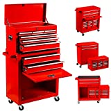 Nee 8-Drawer Tool Chest Tool Box,High Capacity Rolling Tool Chest Tool Storage Cabinet with 4 Wheels, 2 in 1 Large Toolbox Tool Organizer with Lockable Drawer,Garage,Workshop (8 red)