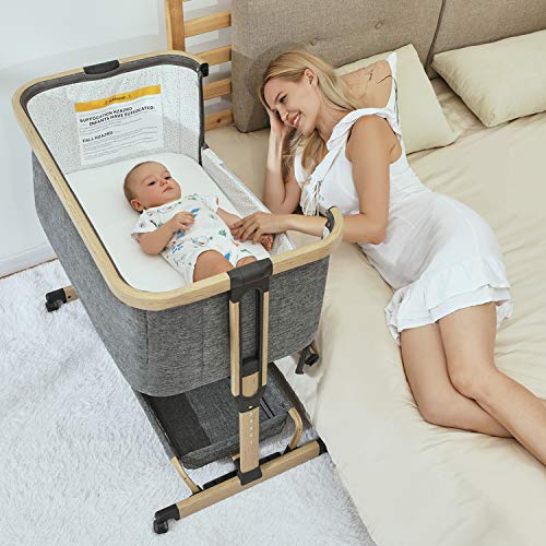 3 in 1 Baby Bassinets,Bedside Sleeper for Baby, Baby Crib with Storage Basket, Easy Folding Bassinet for Baby and Safe Co-Sleeping with Detachable Side Panel, CPSC and ASTM Certified AMKE Basket