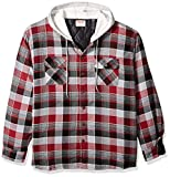 Wrangler Authentics Men's Long Sleeve Quilted Lined Flannel Shirt Jacket with Hood, Biking Red with Gray, Medium