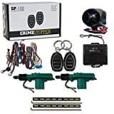Crimestopper SP-102 1-Way Car Alarm System with 2 Remotes & Keyless Entry + Universal Door Lock Actuator 2 Wire